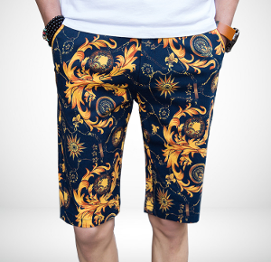 Antique Navy Blue Gold Floral Luxury Chino Mens Shorts