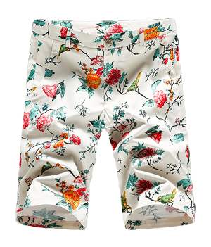 Absolutely Elegant Mens Off-White Floral Bermuda Shorts