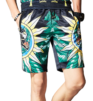 PictureAmazing Tiger Sun Green Bright Leisure Printed Shorts